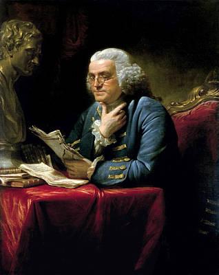 Ben Franklin Thumb Portrait 1767 Art Print by Daniel Hagerman