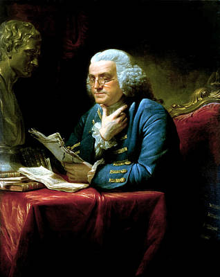 American Landmarks Painting - Ben Franklin by War Is Hell Store