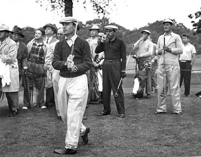 Ben Hogan Takes Practice Shot In New Art Print by Everett