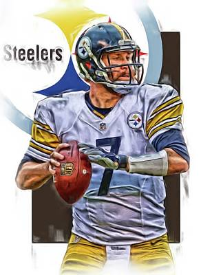Pittsburgh Mixed Media - Ben Roethlisberger Pittsburgh Steelers Oil Art by Joe Hamilton