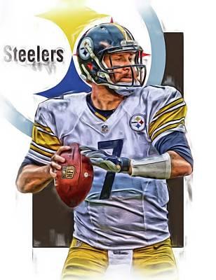Steelers Mixed Media - Ben Roethlisberger Pittsburgh Steelers Oil Art by Joe Hamilton