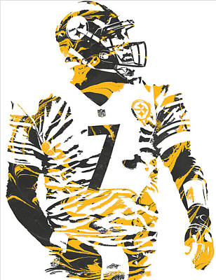 Mixed Media - Ben Roethlisberger Pittsburgh Steelers Pixel Art 6 by Joe Hamilton