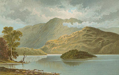 Reflecting Tree Painting - Ben Venue And Ellen's Isle   Loch Katrine by English School