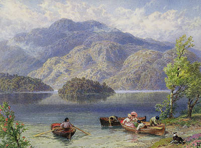 Scottish Dog Drawing - Ben Venue And Ellen's Isle, Loch Katrine by Myles Birket Foster