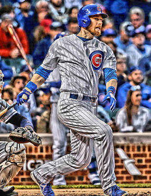 Chicago Cubs Field Painting - Ben Zobrist Chicago Cubs by Joe Hamilton
