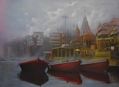 Liberation Painting - Banaras Ghat by Kamal  Rao
