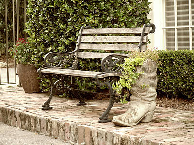 Photograph - Bench And Boot 2 by Michael Colgate