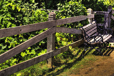 Photograph - Bench And Fence Mackinac Island Michigan by Roger Passman