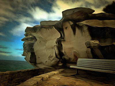 Overhang Digital Art - Bench And Huge Overhanging Rock by Ashish Agarwal
