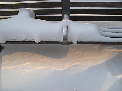 Snow Drifts Digital Art - Bench And Snow After Winter Storm by Lyle Crump