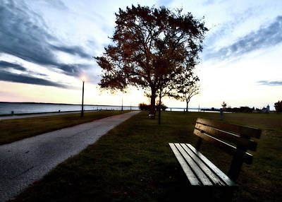 Lake Michigan Digital Art - Bench And Street Light by Mark Duffy