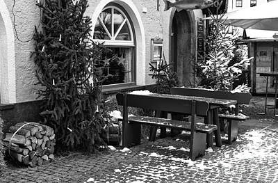 Photograph - Bench And Table In Berchtesgaden by John Rizzuto