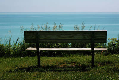 Photograph - Bench At Lake Michigan by Marilyn Hunt