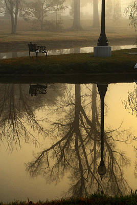 Impressionist Photograph - Bench At Sunrise by Wayne Archer