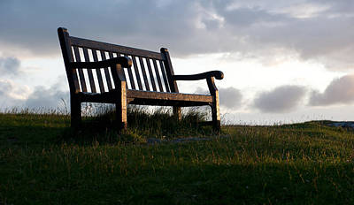 Bench At Sunset Art Print