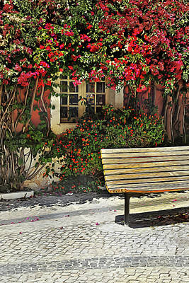 Window Bench Painting - Bench By The Bougainvilla by Elaine Plesser