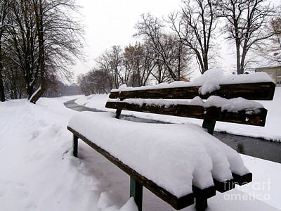 Photograph - Bench Covered By Snow by Nina Ficur Feenan