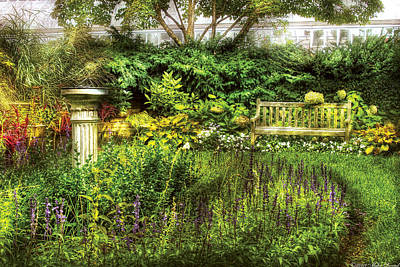 Photograph - Bench - Garden Pleasure by Mike Savad