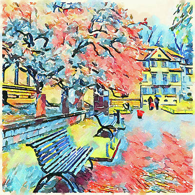 Digital Art - Bench In A Park by Yury Malkov