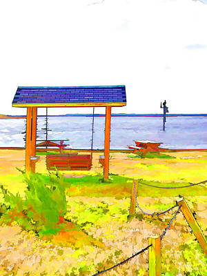 Empty Chairs Painting - Bench In Nature By The Sea 3 by Lanjee Chee