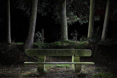 Photograph - Bench In The Dark Forest by Dirk Ercken