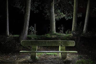 Photograph - Bench In The Dark Forest by Dirk Ercken