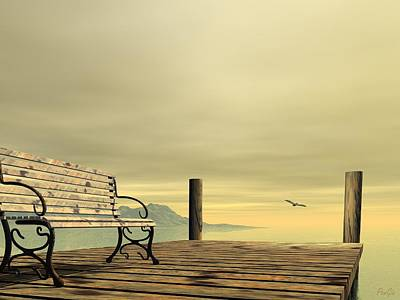Digital Art - Bench by John Pangia