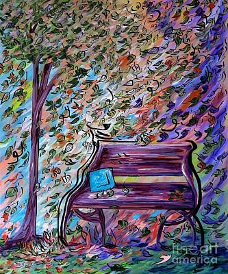 Shadow Painting - Bench On A Windy Day by Eloise Schneider