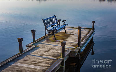 Reflective Photograph - Bench On Dock by Inge Johnsson