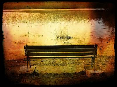 Photograph - Bench On Lake by Michael L Kimble