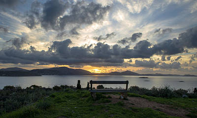 Photograph - Bench On Sunrise Over The Sea by Radoslav Nedelchev