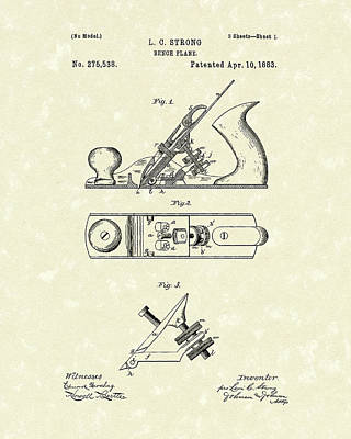 Drawing - Bench Plane 1883 Patent Art by Prior Art Design
