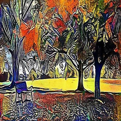 bench under the trees - My WWW vikinek-art.com Art Print by Viktor Lebeda