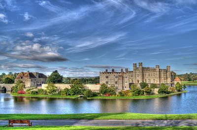 Bench View Of Leeds Castle Art Print