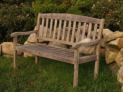 Bench With Stone Art Print by Richard Mansfield