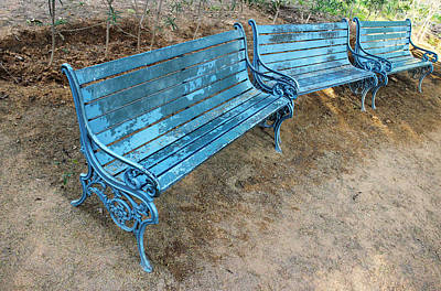 Benches And Blues Art Print by Prakash Ghai