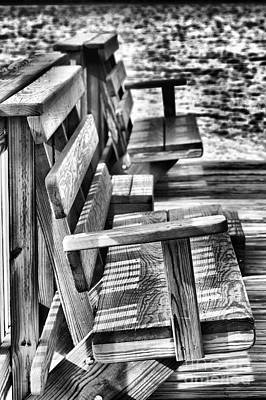 Benches By The Sea Art Print