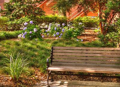 Benches Of Savannah Art Print by Linda Covino