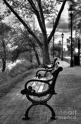 Benches On Riverside Drive Bw Art Print