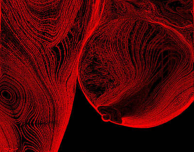 Conscience Digital Art - Bending Nude Female In Neon Red by Abstract Angel Artist Stephen K
