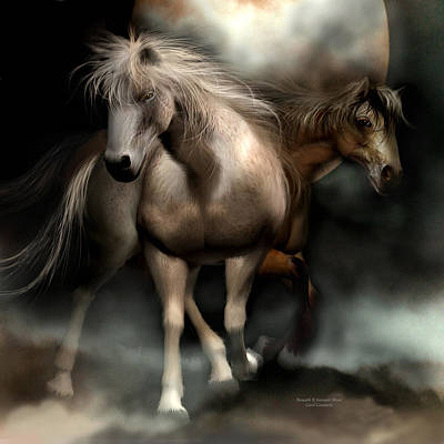 Horse Art Mixed Media - Beneath A Summer Moon by Carol Cavalaris