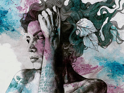 Alcohol Ink Wall Art - Drawing - Beneath Broken Earth - Street Art Drawing, Woman With Leaves And Tattoos by Marco Paludet