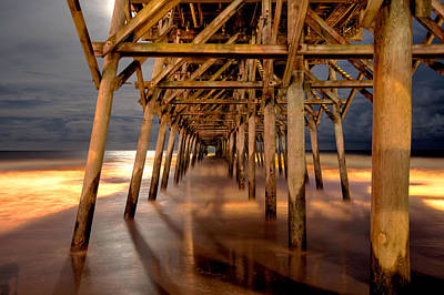 Long Exposure Photograph - Beneath Garden City Pier by Cathie Crow