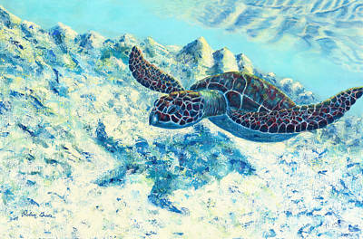 Seaturtle Painting - Beneath The Blue Lagoon by Robin Grace
