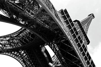 Photograph - Beneath The Iconic Eiffel Tower Paris France Black And White by Shawn O'Brien