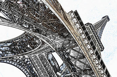 Digital Art - Beneath The Iconic Eiffel Tower Paris France Colored Pencil Digital Art by Shawn O'Brien