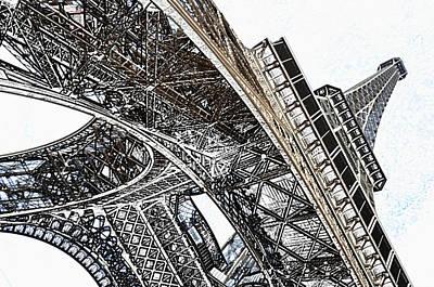 Digital Art - Beneath The Iconic Eiffel Tower Paris France Colored Pencil Digital Art by Shawn O'Brien