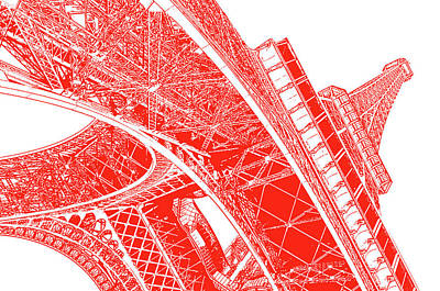 Digital Art - Beneath The Iconic Eiffel Tower Paris France Red Stamp Digital Art by Shawn O'Brien