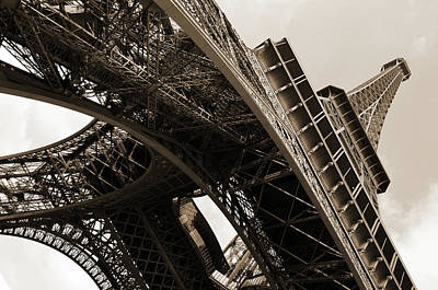 Photograph - Beneath The Iconic Eiffel Tower Paris France Sepia by Shawn O'Brien