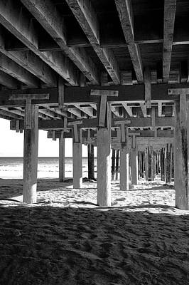 Photograph - Beneath The Pier Bw by Gary Brandes